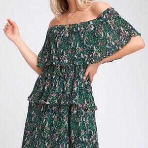 LULUS  Green Floral Print Off-the-Shoulder Dress S